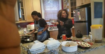 Eb cooking in kitchen