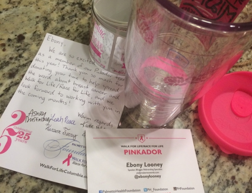 I'm a Pinkador for the Palmetto Health 2015 Walk/Race for Life