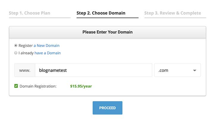 Siteground Choose a domain page